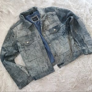 Vintage Genuine Leather Denim Jacket